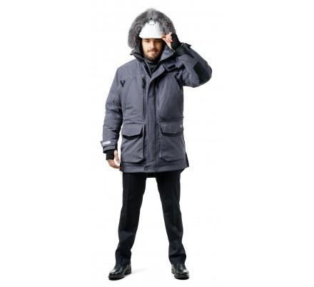 Куртка-парка мужская зимняя «Фокс» (цвет серый)